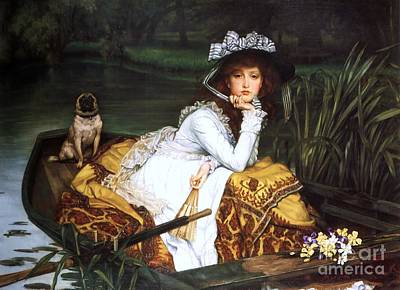 Painting - Young Lady In A Boat by Pg Reproductions