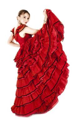 Photograph - Young Lady In Hispanic Red Dress 01 by Vlad Baciu