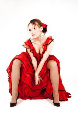 Fashion Photograph - Young Lady In Hispanic Red Dress 05 by Vlad Baciu