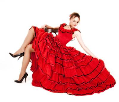 Photograph - Young Lady In Hispanic Red Dress 06 by Vlad Baciu