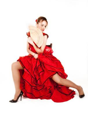 Photograph - Young Lady In Hispanic Red Dress 07 by Vlad Baciu