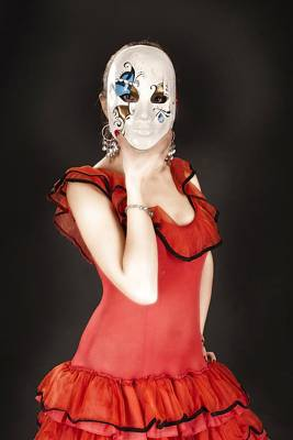 Photograph - Young Lady In Hispanic Red Dress Behind A Venetian Mask 02 by Vlad Baciu