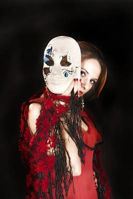 Fashion Photograph - Young Lady In Hispanic Red Dress Behind A Venetian Mask 04 by Vlad Baciu
