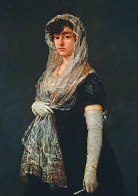 Young Lady Wearing A Mantilla And Basquina Art Print by Francisco Goya