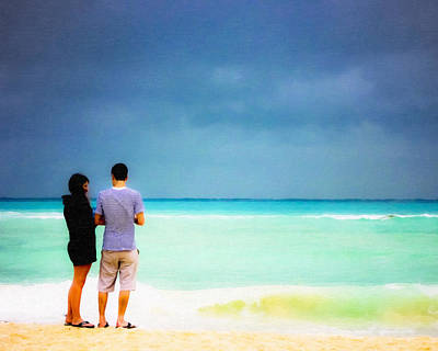 Photograph - Young Love And The Stormy Sea by Mark E Tisdale