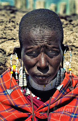 Photograph - Portrait Of Young Maasai Woman At Ngorongoro Conservation Tanzania by Amyn Nasser