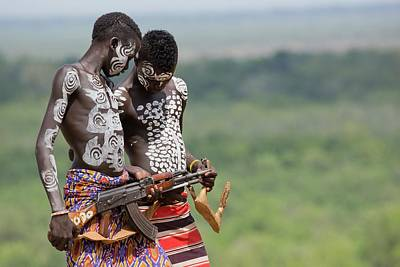 African Warriors Photograph - Young Male Karo Tribe Boys by Photostock-israel