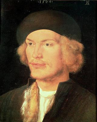 Young Man, 1507 Oil On Panel Art Print by Albrecht D�rer or Duerer