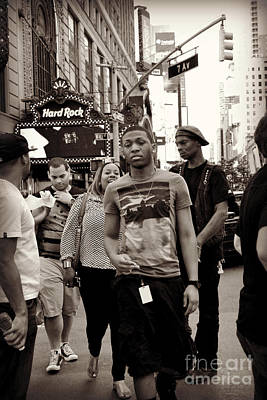 Photograph - Young Man And Guy With Cap - Times Square by Miriam Danar