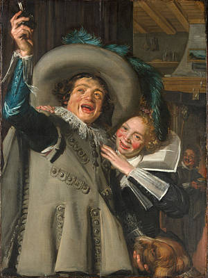 Ramp Painting - Young Man And Woman In An Inn. Yonker Ramp And His Sweetheart  by Frans Hals