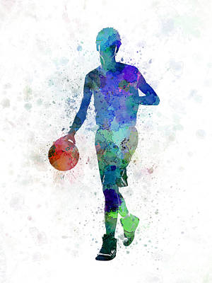 Basketball Players Painting - Young Man Basketball Player Dribbling  by Pablo Romero