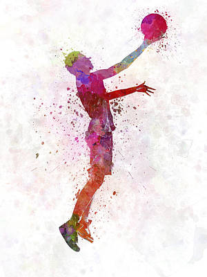 Basketball Players Painting - Young Man Basketball Player by Pablo Romero