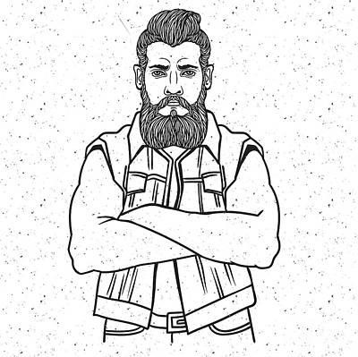 Engraving Wall Art - Digital Art - Young Man Bearded Biker. Hand Drawing by Shik shik