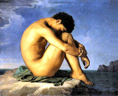 Young Man By The Sea Art Print by Hippolyte Flandrin