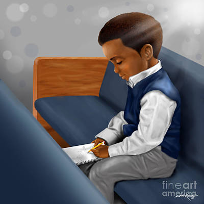 African-american Digital Art - Boy Drawing In Church by Josh Kennedy
