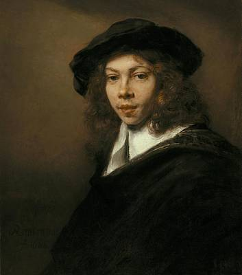 Kansas Oil Painting - Young Man In A Black Beret by Rembrandt van Rijn