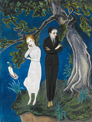 Man In Black Painting - Young Man In Black. Girl In White by Nils Dardel