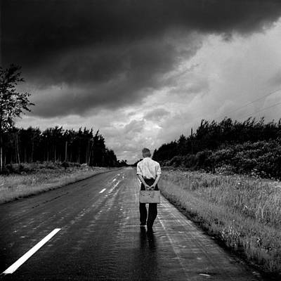 Young Man On The Road Art Print