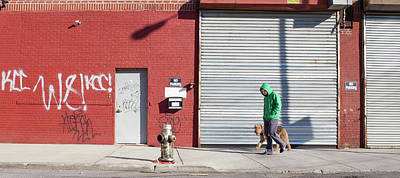 Young Adult Photograph - Young Man Walks Dog by Alex Potemkin