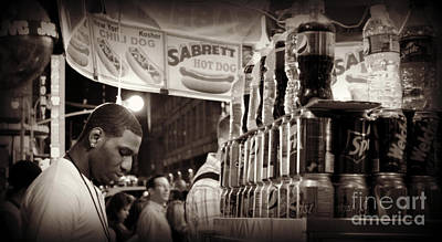 Photograph - Young Man With Food Cart - Times Square by Miriam Danar