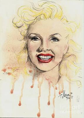 Beautiful Face Drawing - young Marilyn by PJ Lewis