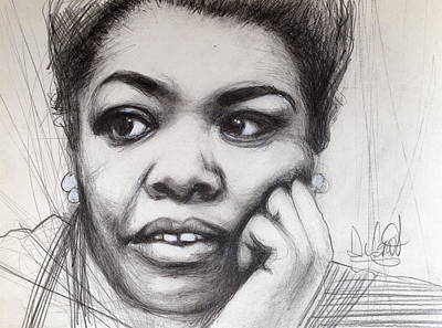 Drawing - Young Maya Angelou by Gregory DeGroat