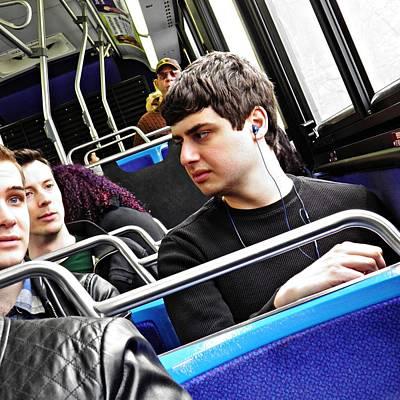Young Men On The M4 Bus Art Print by Sarah Loft