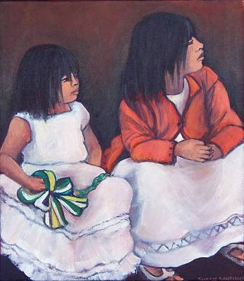 Painting - Young Mexican Girls At The Independence Parade  by Susan Santiago