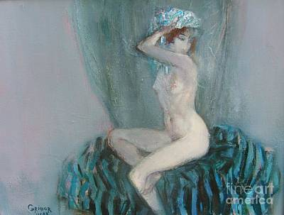Blue Painting - Young Model  by Grigor Malinov