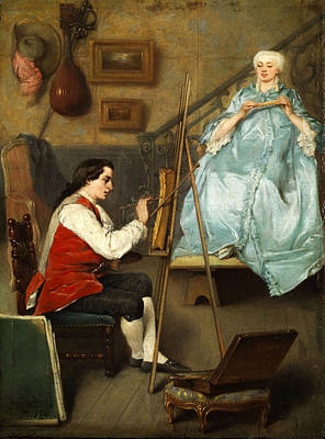 Young Painter Portraiting A Young Woman In A Blue Silk Dress Art Print by Eugene Fichel