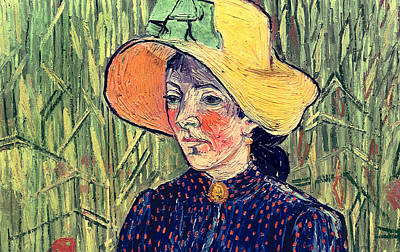 Young Peasant Girl In A Straw Hat Sitting In Front Of A Wheatfield Art Print by Vincent van Gogh