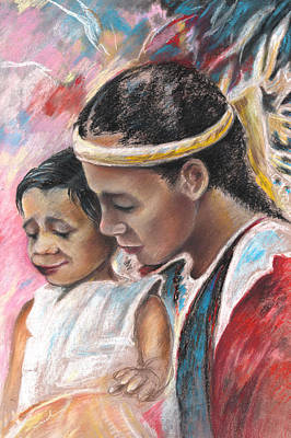 Painting - Young Polynesian Mama With Child by Miki De Goodaboom