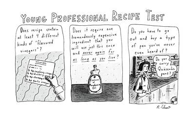 Young Professional Recipe Test Art Print by Roz Chast