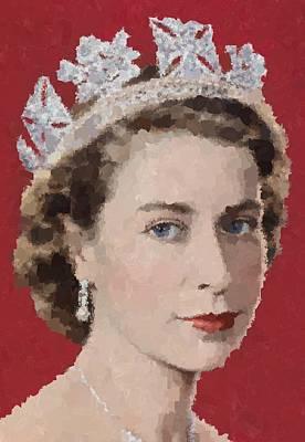 Painting - Young Queen Elizabeth II by Samuel Majcen