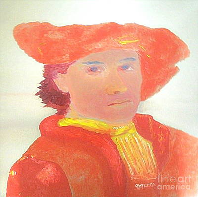 Painting - Young Rembrandt In Red 1 by Richard W Linford