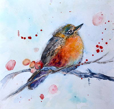 Early Spring Painting - Young Robin by Beverley Harper Tinsley