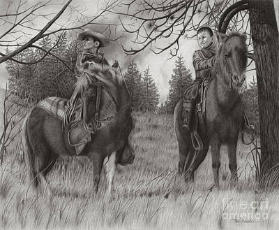 Drawing - Young Rough Riders by Barb Schacher