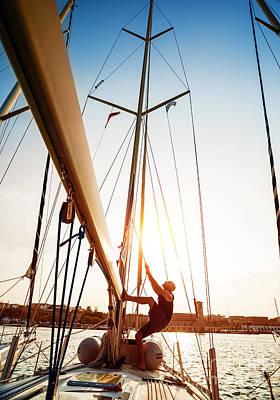 Young Sailor On Sailboat Art Print
