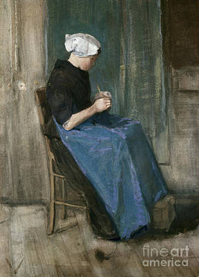 Young Scheveningen Woman Knitting Facing Right Art Print by Vincent van Gogh