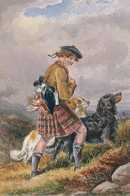 Scottish Dog Painting - Young Scottish Gamekeeper With Dead Game by English School