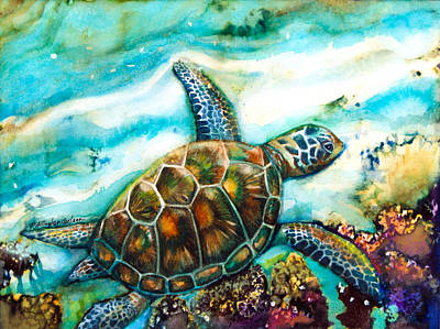 Ocean Turtle Painting - Young Sea Turtle by Patricia Allingham Carlson