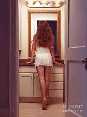 Young Sexy Woman At A Bathroom Mirror Art Print by Oleksiy Maksymenko
