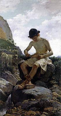 Bela Painting - Young Shepherd by Juan Bela y Morales