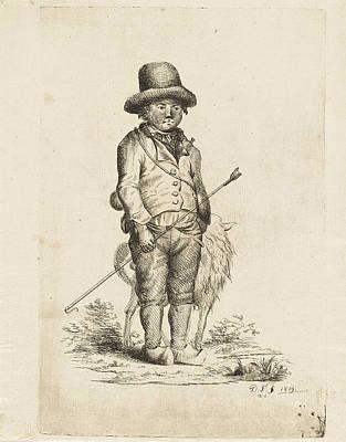 Herding Dog Drawing - Young Shepherd, Monogrammist Df Graveur by Monogrammist Df