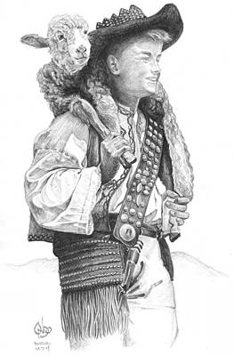 Slovak Drawing - young Slovak shepherd with lamb by Vlado Ondo