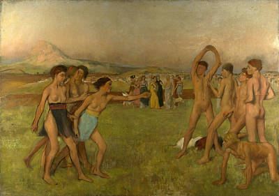 Spartan Painting - Young Spartans Exercising by Edgar Degas