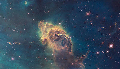 Young Stars Flaring In The Carina Nebula Art Print by Celestial Images