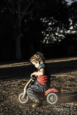 Young Three Year Old Child Riding On Toy Bicycle Art Print by Jorgo Photography - Wall Art Gallery