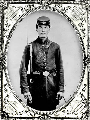 Bayonet Photograph - Young Union Soldier by American School