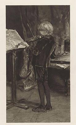 Violin Player Drawing - Young Violin Player, Willem Steelink by Willem Steelink (i)